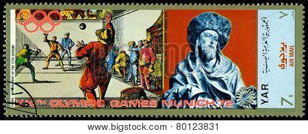 Vintage  Postage Stamp. Munich Olymhic City 1972. Tennis.
