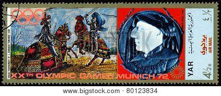 Vintage  Postage Stamp. Munich Olymhic City 1972. Tournament.
