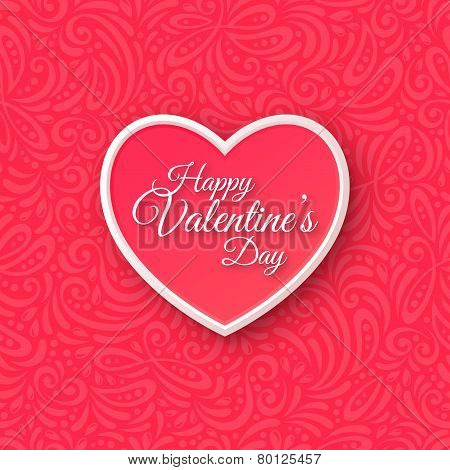 Pink Paper Heart. Valentines Day Greeting Card on Seamless Ornate Background.