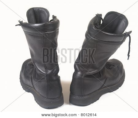 Black military leather boots
