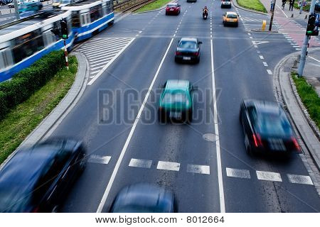 Cars In Motion Blur On A Street Of Wroclaw