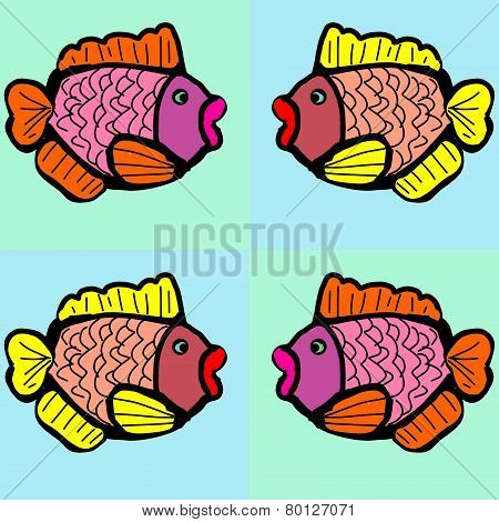 Four decorative fishes on a blue background