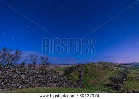 Hadrians Wall Near Walltown At Night