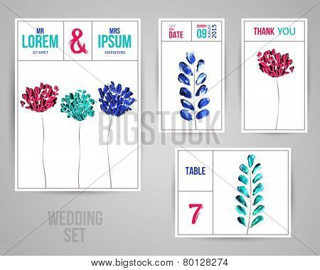 Wedding Invitation Cards Template with Abstract Flowers and Leaves Painted in Oil.