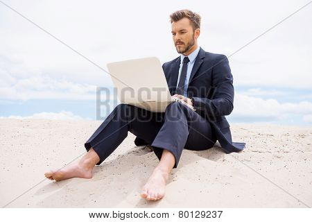 Businessman In Desert.