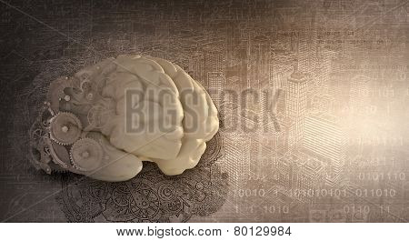 Model of human brain and cogwheel mechanism