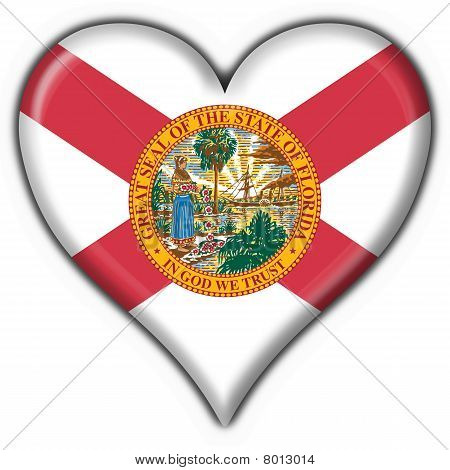Florida (usa State) Button Flag Heart Shape