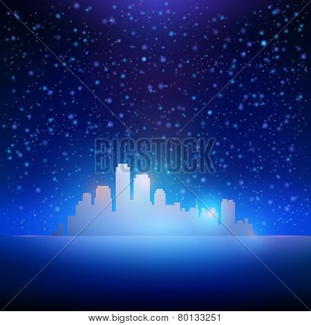Night Sky With Stars And City Background