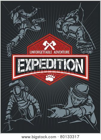 Rock climbing expedition. Vector set - expeditions emblem and climbers.