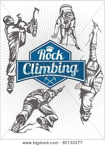 Rock climbing. Vector set -  emblem and climbers.