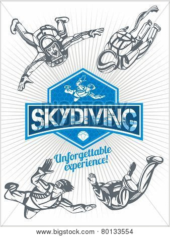 Skydiving. Vector set - emblem and skydivers.