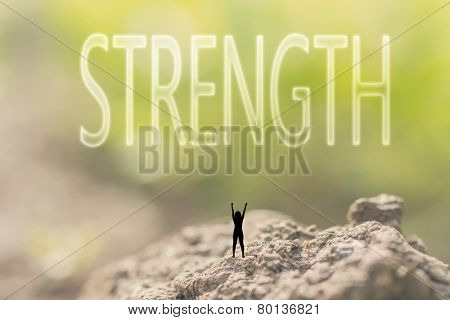 one person stand in the outdoor and looking up the text on nature background, concept of power, strength, force.