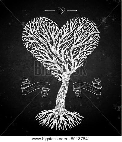 Tree crown like heart on black