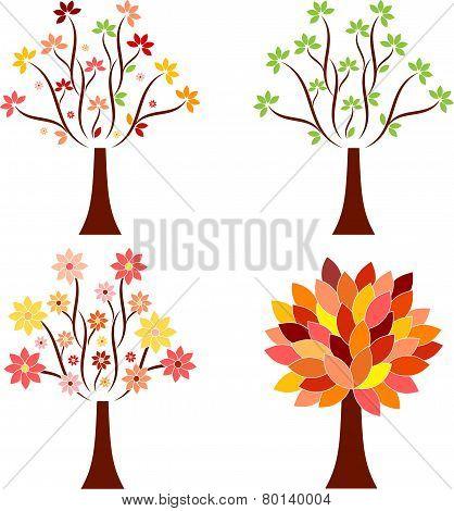 Isolated Tree Vectors, Seasonal Tree Illustrations