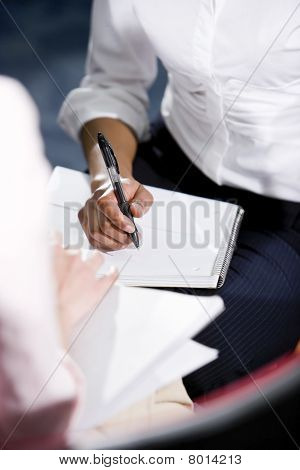 Cropped View Of African American Woman Writing