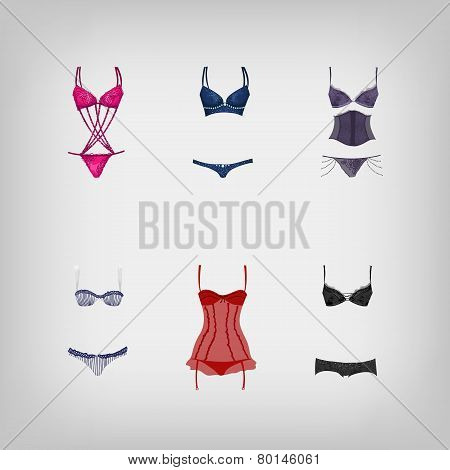 Set Of Vector Sexy Lingerie
