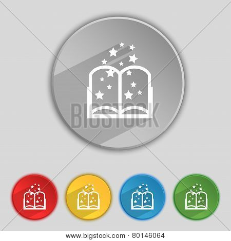 Magic Book Sign Icon. Open Book Symbol. Set Of Colored Buttons. Vector