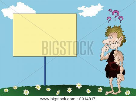 Prehistoric man with the poster