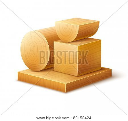 Woodworks wooden workpieces blocks of various forms. Eps10 vector illustration. Isolated on white background