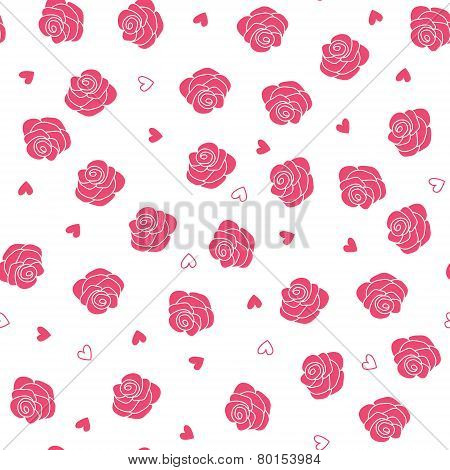 Pink roses and hearts scattering seamless vector pattern