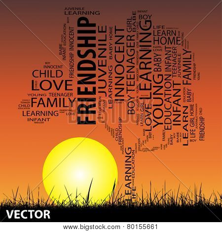 Vector concept or conceptual black education text word cloud or tagcloud as tree and grass isolated on sunset sky background