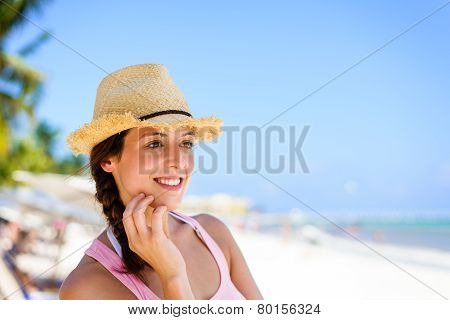 Charming Woman Enjoying Tropical Summer Vacation