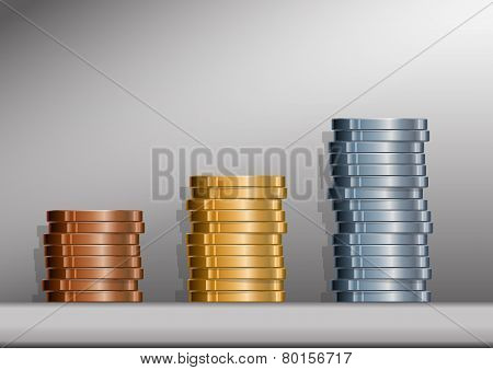 Coin Stacks With Background
