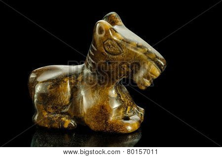 Tiger-eye Horse Statuette