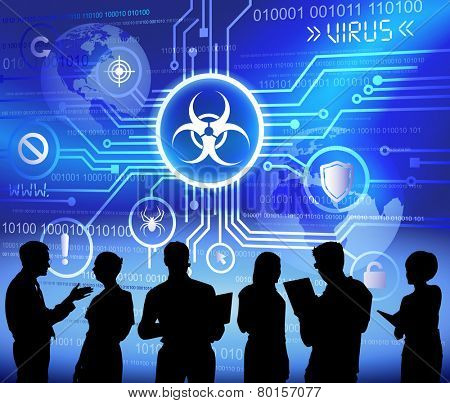 Vector of Business People Discussing Malware
