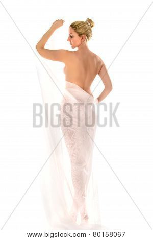 Young sexy blond in sari isolated on white