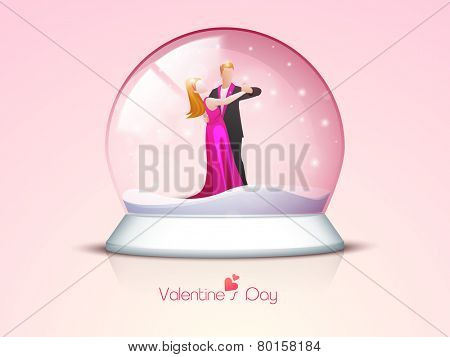 Cute romantic couple dancing in a snow dome for Happy Valentine's Day celebration on glossy pink background.