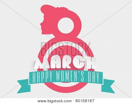 8 March, Happy Women's Day celebration concept with red silhouette of young woman face on white background.