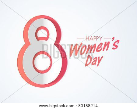 Happy Women's Day celebration with creative text numeric 8 on grey background.