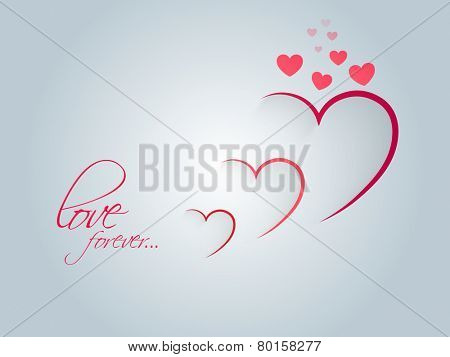 Stylish paper cutout hearts with text Love Forever on shiny sky blue background for Happy Valentine's Day celebration.