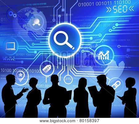 Vector of Business People Discussing about SEO