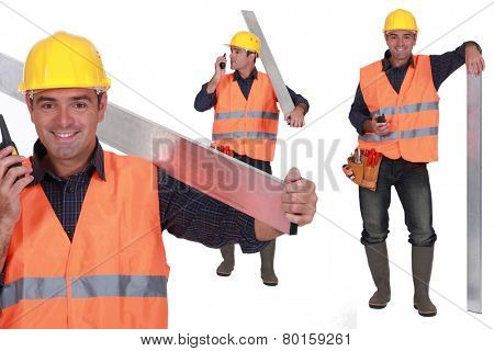 Worker with a walkie talkie