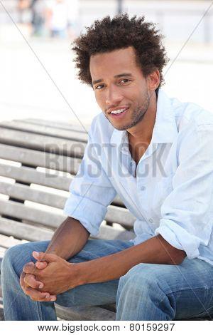 Man sat on park bench