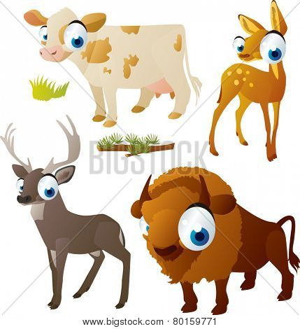 vector isolated cartoon cute animals set: ungulates: cow, deer, bison, doe