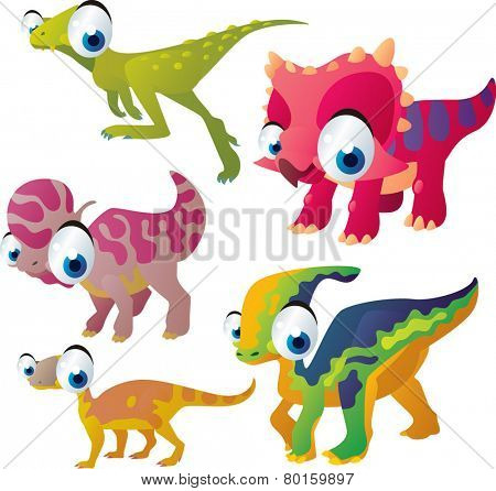 vector isolated cartoon cute animals set: dinosaurs: zuniceratops, lambeosaurus, heterodontosaurus, parasaurolophus, riojasaurus