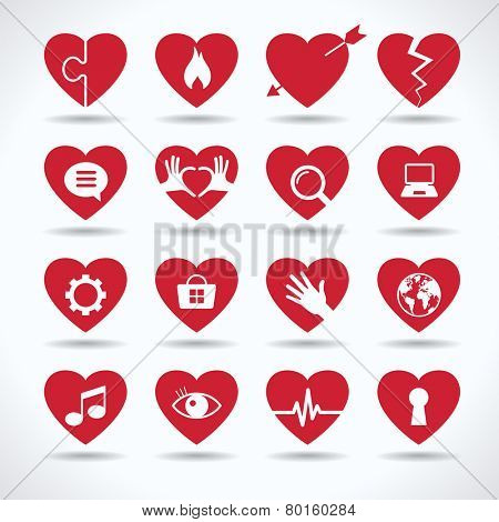Icons of heart on a variety of topics. Valentine's day, romance, love concept. The file is saved in the version AI10 EPS. This image contains transparency.