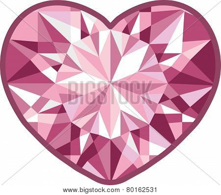 Diamond heart on a white background.  illustration for Your desing.