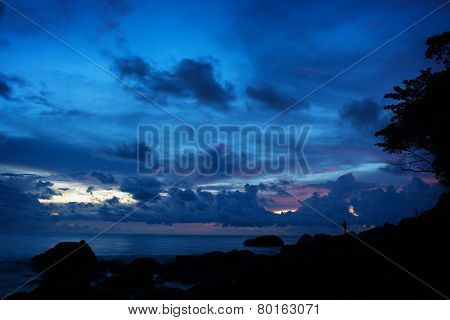 Silhouette Of Tropical Beach At Dusk
