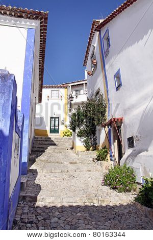 Narrow Street In The Town Of Obidos