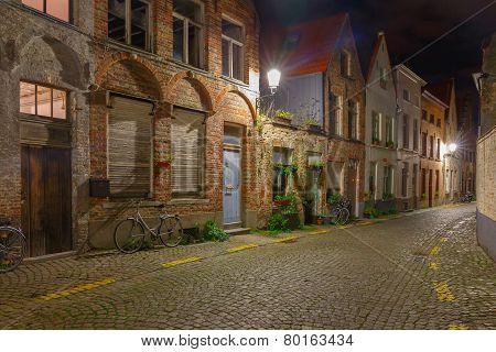 Cityscape with the picturesque night street in Bruges