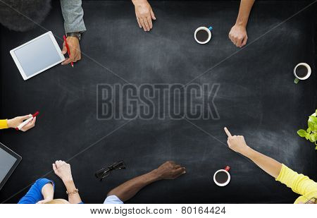 Aerial View Business People Community Planning Brainstorming Concept