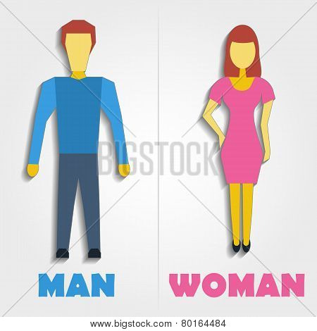 Male And Female Restroom Symbol Icon. Vector Illustration