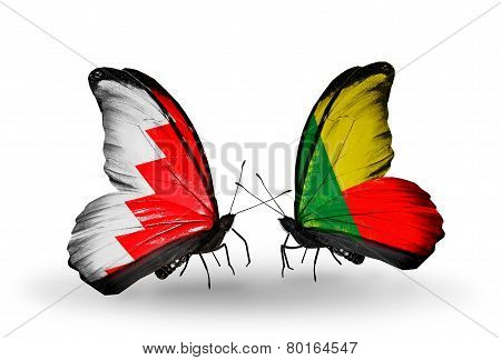 Two Butterflies With Flags On Wings As Symbol Of Relations Bahrain And Benin