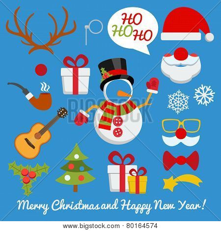 Xmas Photo Booth And Scrapbooking Vector Set