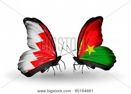 Two Butterflies With Flags On Wings As Symbol Of Relations Bahrain And Burkina Faso