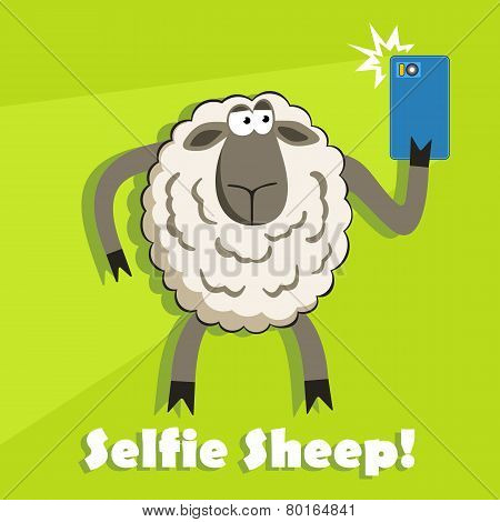 Selfie Goofy Sheep Holding Smartphone. Vector.